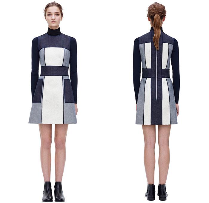 victoria-beckham-2014-2015-fall-autumn-winter-fashion-womens-borg-panel-denim-jeans-dress-rollneck-sweater-bomber-jacket-skirt-blouse-flare-waistcoat-01x