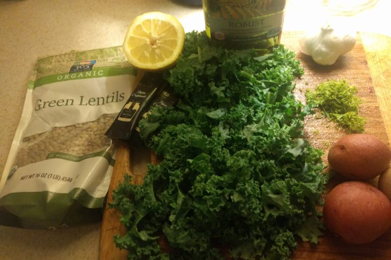 Warm Lentil, Potato, and Kale Salad: Frugal Eats